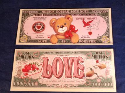 Love Sweetheart Note Teddy Bear Novelty Dollar In Quality Bill Display Case