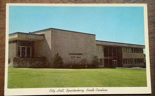 SPARTANBURG CITY HALL, SOUTH CAROLINA   - 1960'S   old unused postcard