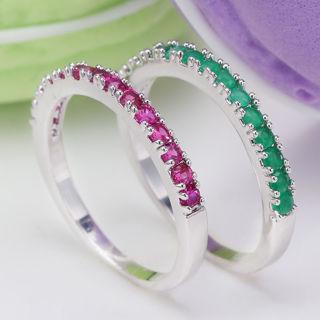 925 Sterling Silver Women Ruby Emerald Ring Wedding