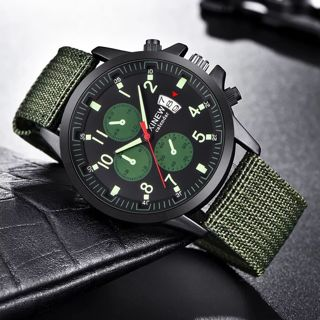 Mens Military Steel Military Date Quartz Analog Army Casual Dress Wrist Watches