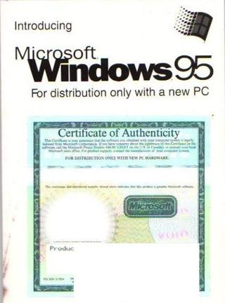 FREE Microsoft Windows 95 Certificate Of Authenticity W Manual