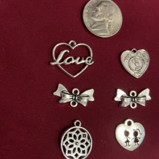 Six Zink Alloy Antique Silver Charms. #20