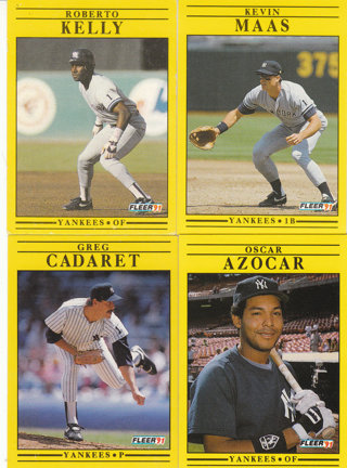 Free Yankees Baseball Cards 1991 Fleer Sports Trading