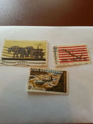 USA 6 cent stamps 3 of them