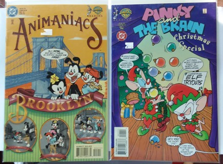 Lot of 2 DC WB Comics - Animaniacs #24 & Pinky and the Brain Christmas Special #1 1996