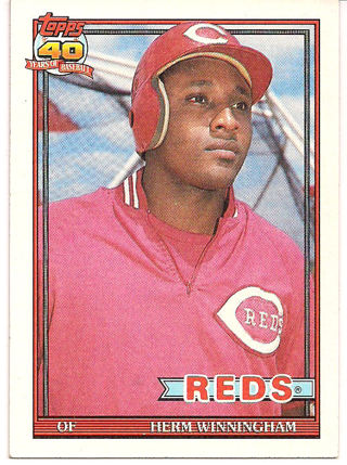 Free 204 Herm Winninghamoutfield Of Reds 1991 Topps 40 Years Of
