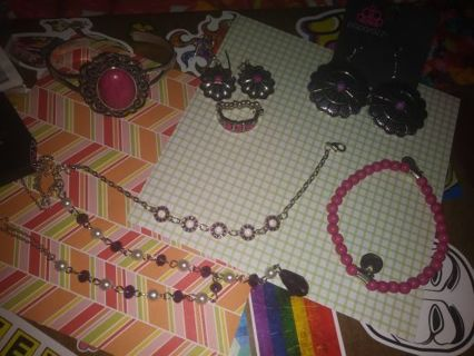 ❇Jewelry Lot ❇ Pink and Purple- Necklace, Earrings, Bracelets, Rings and more Read Description
