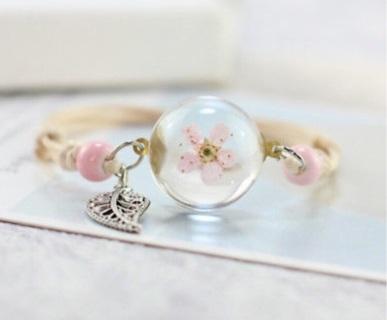 Peach Flower Glass Ball Bracelet