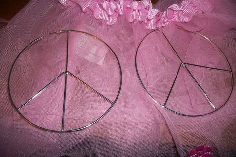 Peace Sign Hoop Earrings Free Shipping Hippie