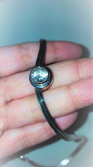 Vintage Sterling 925 Herringbone Necklace with Slide Pendant