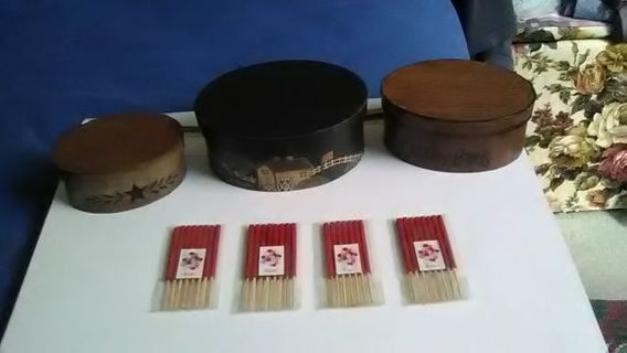 3 COUNTRY BARN WOOD KEEPSAKE CONTAINERS. + 4 PACKS MINI INSCENT ROSE STICKS