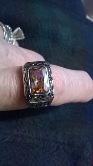 925 Silver Morganite Ring  unisex size 9