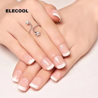 ELECOOL 24Pcs Natural Short False Nails Acrylic Round Short french nail art tips With 2g Glue Nail