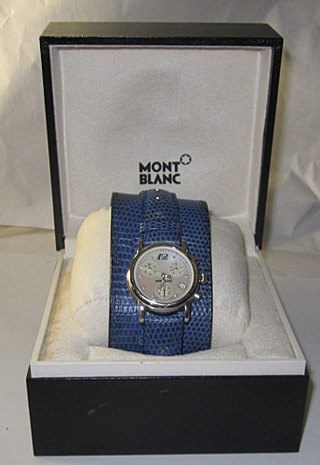 MONT BLANC WATCH in BOXED INTERCHANGEABLE CONVERTIBLE BAND WEAR WIDE OR NARROW BAND EITHER WAY!!!!!