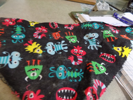 Monster print black background doggie bandana