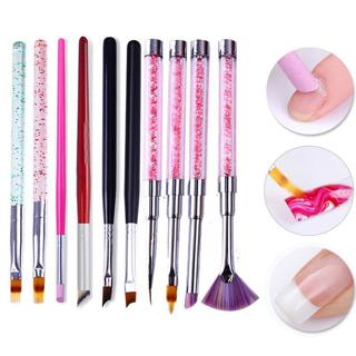 Gradient Drawing Nail Brush UV Gel Painting Pen French Tip Brush Rhinestone Handle Manicure Brush