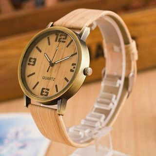 New Men Women Leather Analog Classic Casual Wooden Movement