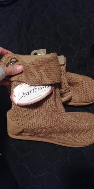 Dearfoams slippers boots tan khaki large 9-10