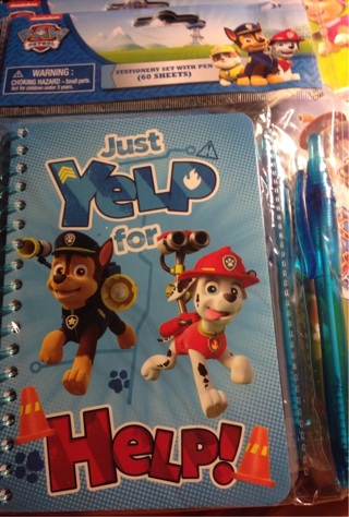 "BNIP ""PAW PATROL"": 'YELP FOR HELP' 60 Pg Stationery Set n Pen. Ages 4 and Up. FREE Ship!"