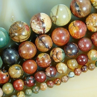[GIN FOR FREE SHIPPING] 15in Natural Picasso Jasper Gemstone Round Loose Beads