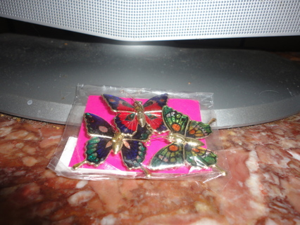 THREE BRAND NEW BUTTERFLY MAGNETS