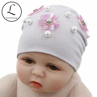 GZHilovingL New Born Baby Hats Solid Spring Autumn Winter Newborn Flower Baby Beanies Hat Cotton I