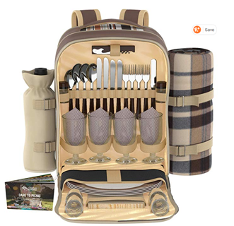 ⭐️⭐️⭐️⭐️Kitchen Supreme Picnic Backpack Set for 4 | Luxury Gift Collection