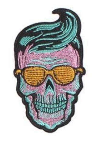 1 Skull Skeleton Patch Iron On Embroidered Patch Hippe Badge Clothes Applique Skull Clothing
