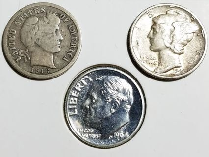 3 Silver Dimes - Barber, Mercury, & Roosevelt