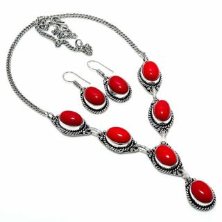 PRETTY RED CORAL SILVER PLATED NECKLACE/EARRING SET