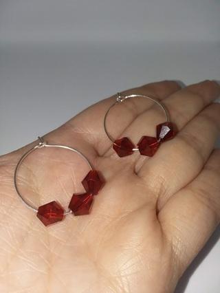 Red Beaded Hoop Earrings