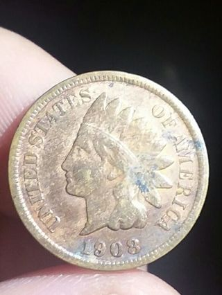 """1908 """"S"""" Indian Head Penny"""
