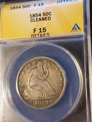 1854 Seated Liberty Half Dollar ANACS F15 Details