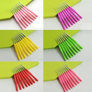 [GIN FOR FREE SHIPPING] 8Pcs Handle Needle Knit Weave Craft Yarn Aluminum Crochet Hooks