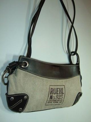 Free Ruehl No 925 Handbag Purse Brown Leather Canvas