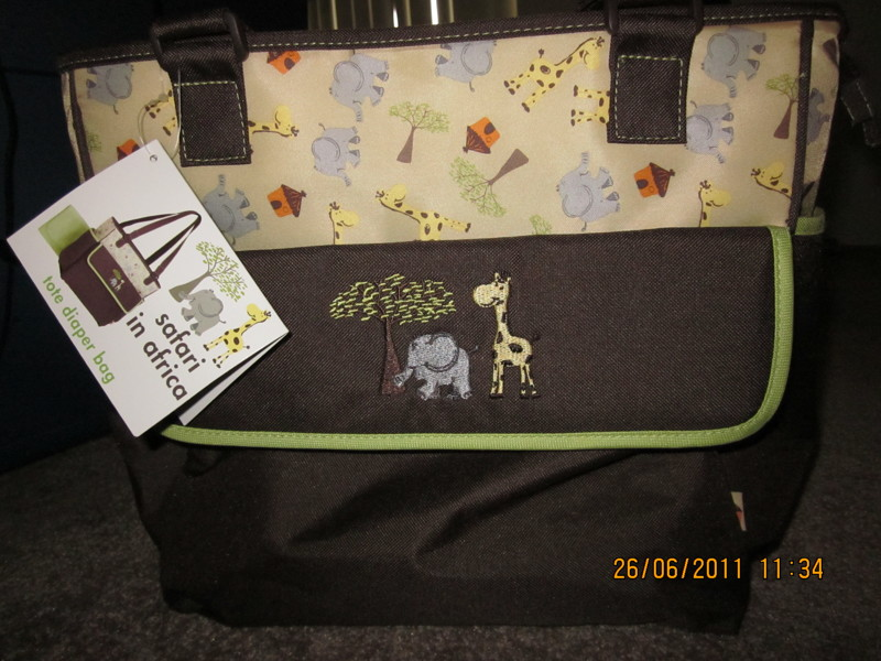 free nwt safari in africa diaper bag filled with goodies other baby items. Black Bedroom Furniture Sets. Home Design Ideas