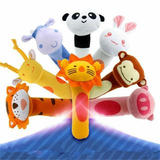 Funny Animal Handbells Soft Sound Plush Squeeze Rattle For Newborn Baby Toy Gift