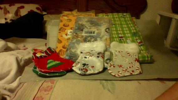 4 Christmas Stockings 3 Christmas wrapping Paper