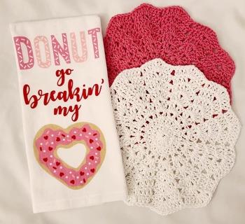 "Crochet VALENTINES 2 - 9"" Dish Cloth/Wash Cloths 1 FLOUR TERRY CLOTH DISH TOWEL***GREAT FOR"