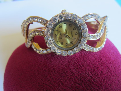 GORGEOUS GOLD TONE with CRYSTAL ACCENTS BANGLE WATCH