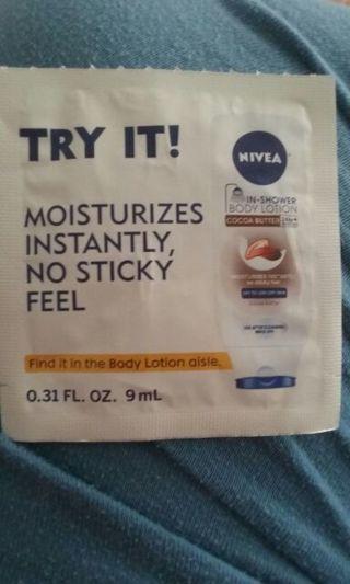 Sample of Nivea in shower lotion