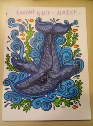 Completed Humpback Whale Coloring Page