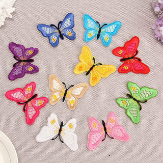 [GIN FOR FREE SHIPPING] 10PCs Embroidery Butterfly Applique Embroidered Fabric Sew On Patch Badge