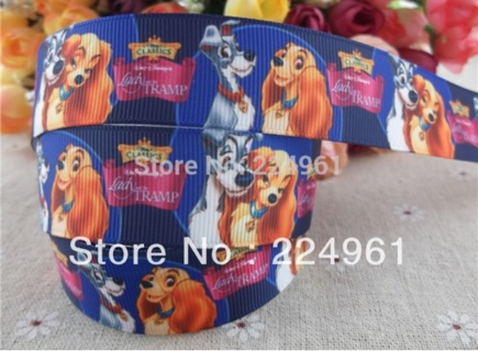 """Lady and the Tramp 1"""" Grosgrain Ribbon 1 Yard New"""