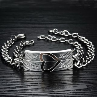 [GIN FOR FREE SHIPPING] 1Pair Real Love Stainless Steel Bangle Titanium