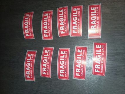 10 Brand New Fragile Stickers