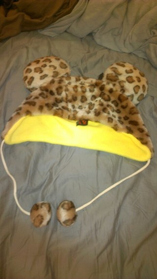 fuzzy Cheetah leopard animal print winter hat teddy bear new with tags junior / adult size