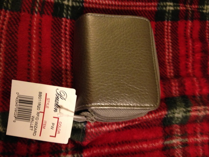 NWT Buxton RFID Accordion Double Zippered Wizard Wallet Silver