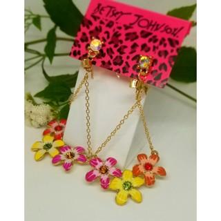Betsey Johnson drop earrings gold tone beautiful flowers New Free ship