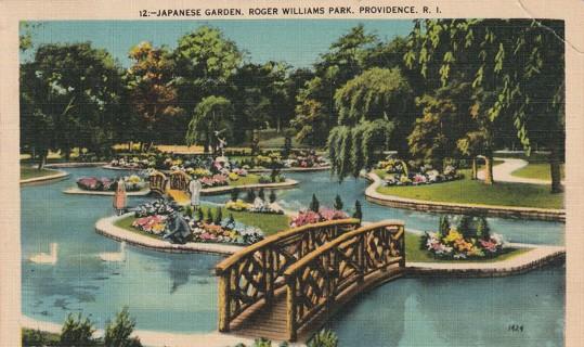 Vintage Used Postcard: 1944 Japanese Garden, Roger Williams Park, Providence, RI